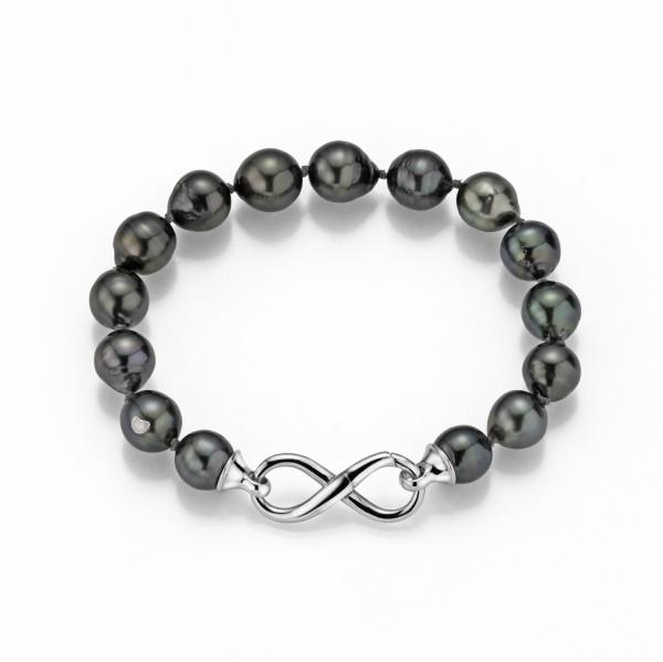 Perlenarmband Tahiti schwarz rund 8-10 mm Infinity-Schließe Silber
