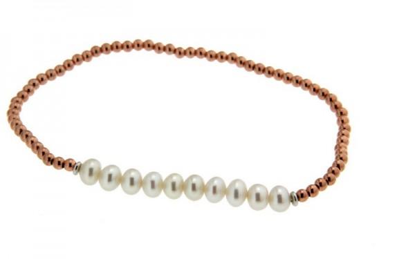 Perlenarmband Süßwasser rund und Kugeln Rosè