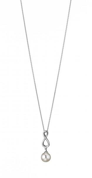 Perlenkette mit Anhänger Süßwasser weiss rund Infinity Silber rhodiniert 50 cm