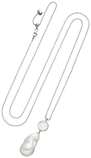 Perlenkette mit Anhänger Süßwasser 13-14 mm 90 cm