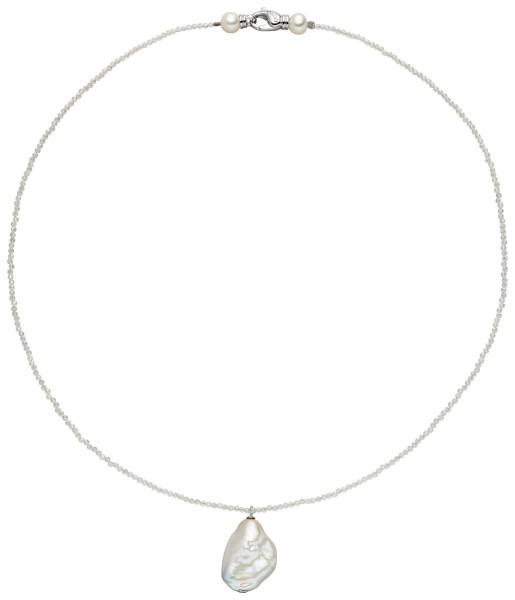 Perlenkette mit Anhänger Süßwasser 16-17 mm Bergkristall