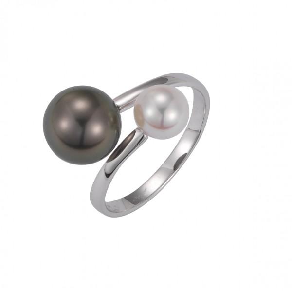 Perlenring Damenring Akoya 6-6,5 mm Tahiti 8-9 mm Weißgold 14 Karat