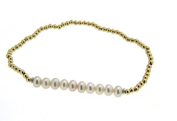 Perlenarmband Süßwasser rund und Kugeln Gelb