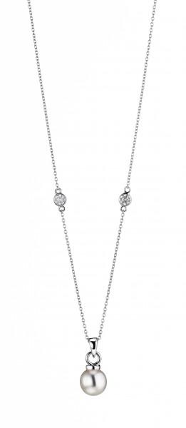 Perlenkette Perlanhänger Süßwasser 9-10 mm und Zirkonia Ankerkette Silber 45 cm