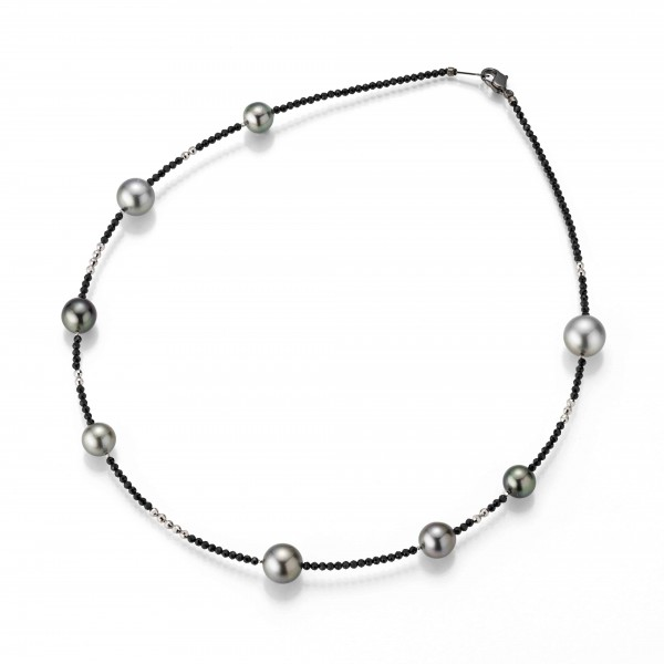 Perlenkette Tahiti multi 8-12 mm schwarzes Spinell Silber 45 cm