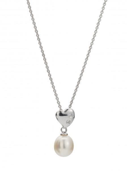 Perlenkette Süßwasser Tropfen Zirkonia Ankerkette Silber 45 cm