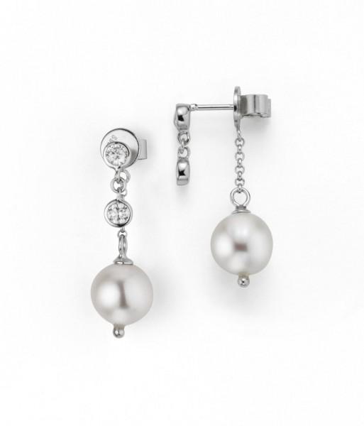 Perlenohrstecker Hänger Süßwasser rung 9-10 mm Zirkonia beweglich Silber