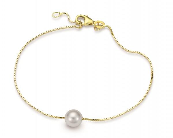 Perlenarmband Akoya weiß rund 7-7,5 mm Gelbgold 9 Karat 18+2 cm