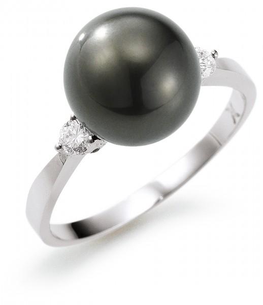 Perlenring Damenring Tahiti 9-10 mm Diamanten Weißgold 14 Karat
