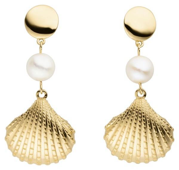 Perlenohrhänger Silber vergoldet Süßwasser 8-8,5 mm