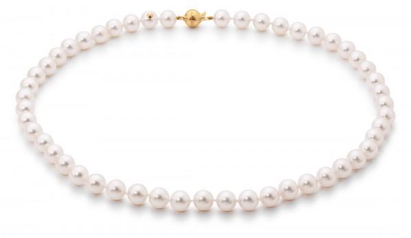 Perlenkette Akoya 8-8,5 mm Kugelschließe Gelbgold 45 cm