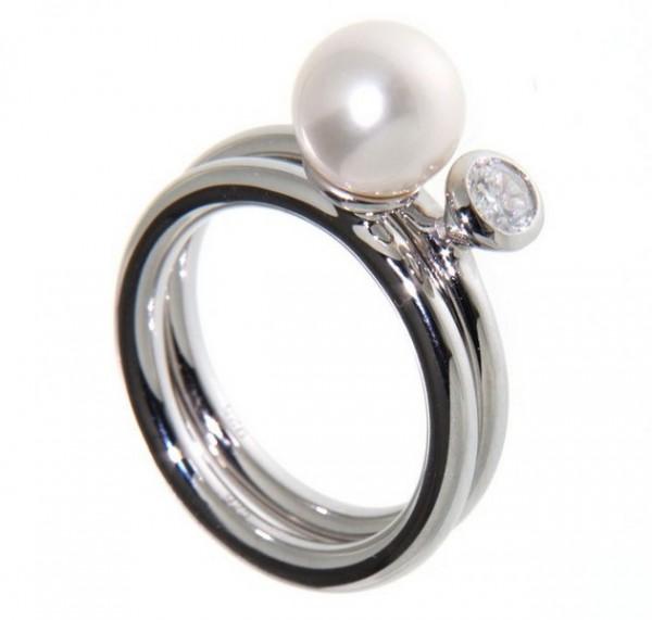 Perlenring 2-teilig Süßwasser und Zirkonia Silber