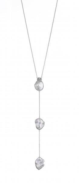 Perlenkette Y-Collier Süßwasser weiss coin 14-16 mm Ankerkette Silber ca. 60 cm