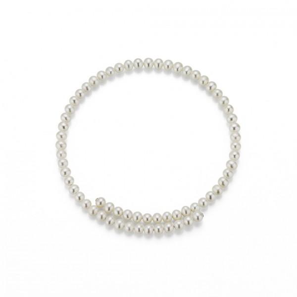 Perlen-Halsreif Süßwasser rund flexibel 45cm Silber