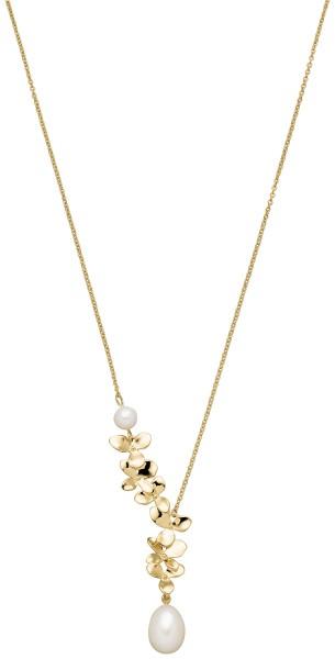 Perlenkette Silber vergoldet Süßwasser 6-10 mm