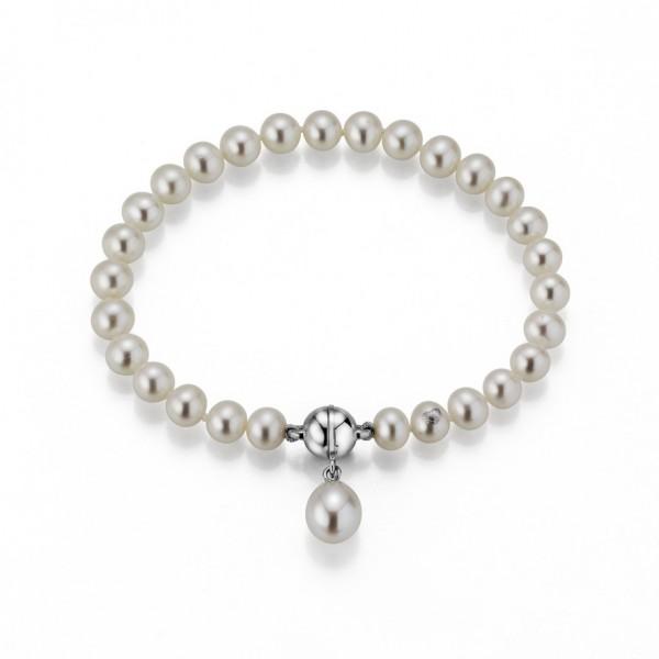 Perlenarmband Süßwasser mit Einhänger Tropfen Magnetschließe Silber 19 cm