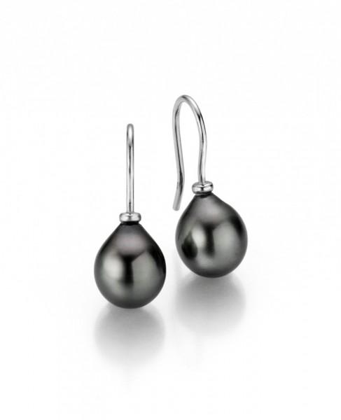 Perlenohrringe Haken Tahiti Tropfen 10-11 mm Silber rhodiniert