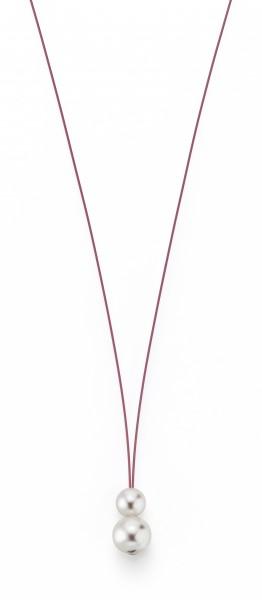 Perlenkette Süßwasser weiss 7-8 und 10-11 mm Edelstahl-Seil pink ca. 75 cm