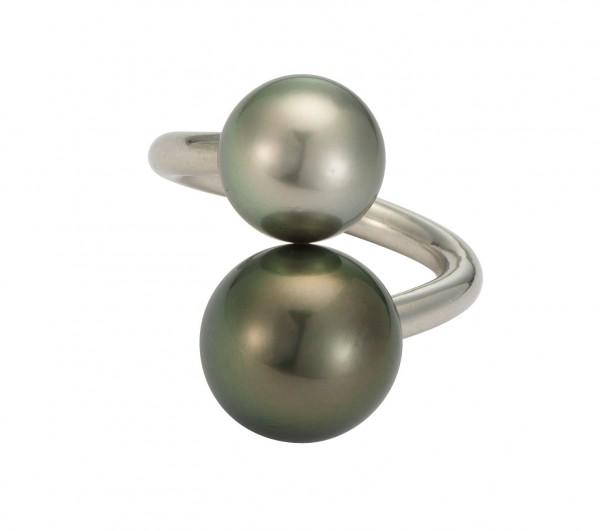 Perlenring Damenring Tahiti schwarz 13-14 mm silbergrau 11-12 mm Silber