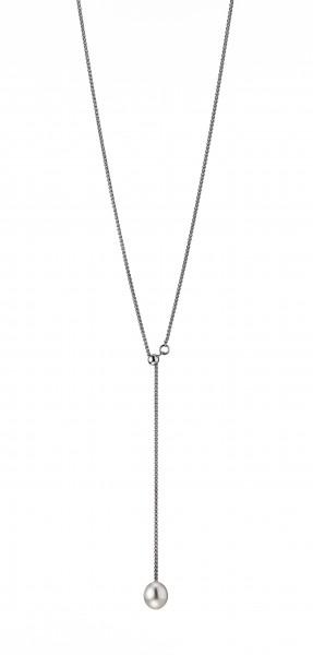 Perlenkette Y-Collier Süßwasser weiss Tropfen 8-9 mm verstellbar Silber 52cm