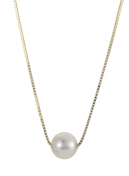 Perlenkette Akoya weiss 7,5-8 mm Venezianerkette 45 cm Gelbgold