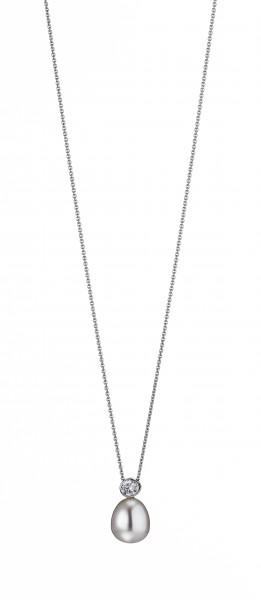 Perlenkette Anhänger Süßwasser Tropfen Zirkonia Ankerkette Silber 50 cm