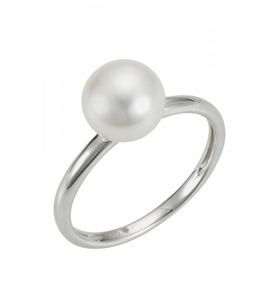 Perlenring Damenring Süßwasser button weiss 8,5-9 mm Weißgold 14 Karat