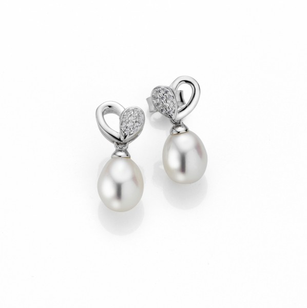 Perlenohrstecker Herzform Süßwasser weiss Tropfen 7-8 mm Zirkonia Silber