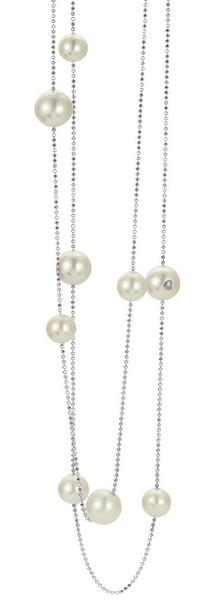 Perlenkette Süßwasser weiss rund facettierte Kugelkette Silber rhodiniert 90 cm
