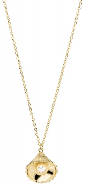 Perlenanhänger mit Kette Silber vergoldet Süßwasser 5,5-6 mm