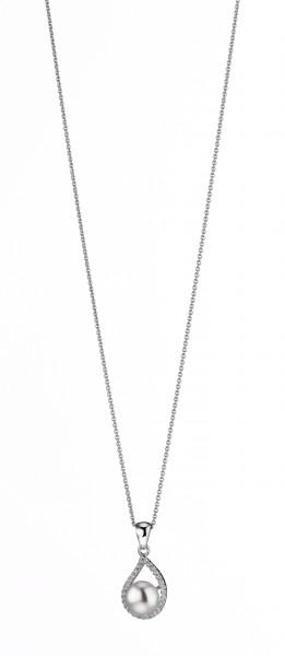 Perlenkette mit Anhänger Süßwasser weiss button Zirkonia Silber rhodiniert 50 cm