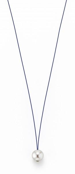 Perlenkette Süßwasser weiss 10-11 mm Edelstahl-Seil blau ca. 78 cm
