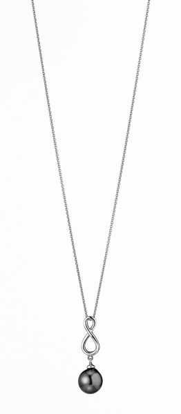 Perlenkette Tahiti schwarz Tropfen 9-10 mm Infinity Silber rhodiniert