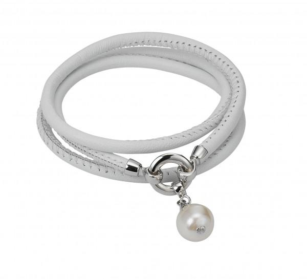 Perlen-Lederarmband weiß Süßwasser rund Silber ca. 55cm 3-reihig