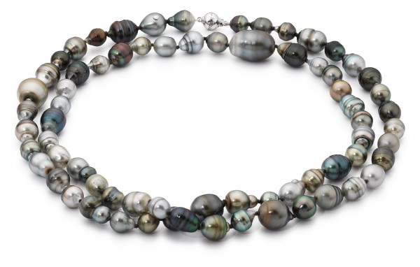Perlenkette Tahiti barock multi Kugelschließe Weißgold 14 Karat 90 cm