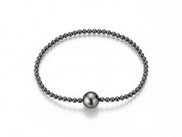 Perlenarmband Tahiti silbergrau rund 9-11 mm Kugelkette flexibel Silber geschwärzt