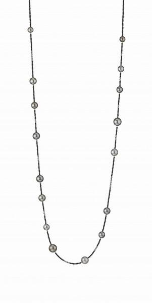 Perlenkette Tahiti multi 9-12 mm schwarzes Spinell Silber 100 cm