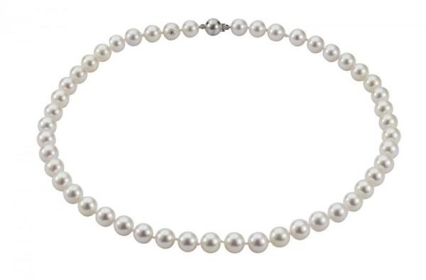 Perlenkette Akoya 8-8,5 mm Kugelschließe Weißgold 14 Karat 45 cm