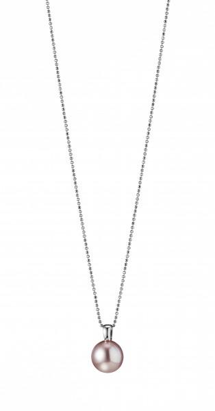 Perlenkette mit Anhänger Süßwasser natur rund 12-13 mm Silber rhodiniert 90 cm