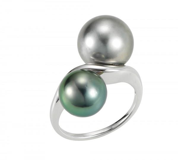 Perlenring Damenring geschwungen Tahiti grau schwarz Weißgold 14 Karat