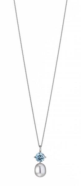 Perlenkette mit Anhänger Süßwasser Tropfen Zirkonia türkis Ankerkette Silber 50 cm