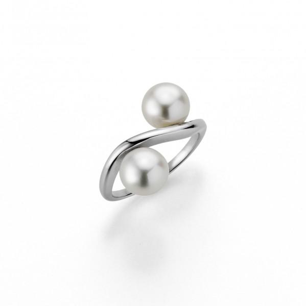 Perlenring Damenring Süßwasser weiss rund 7-8 mm Silber rhodiniert