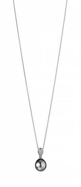 Perlenkette Tahiti schwarz Tropfen 9-10 mm Ankerkette Silber 45 cm