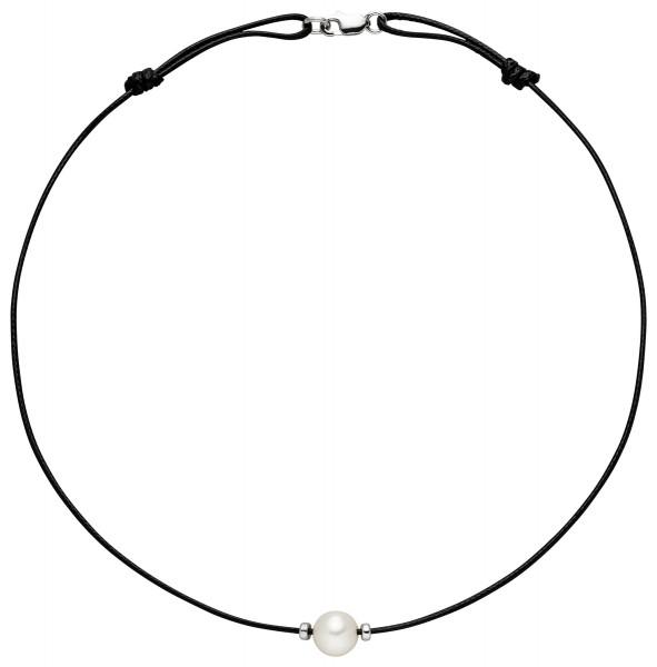 Perlenkette schwarz Süßwasser 8-9 mm