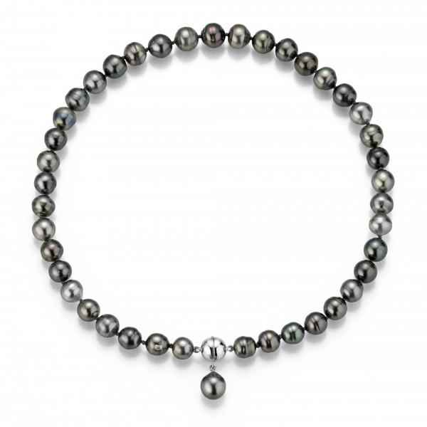 Perlenkette Tahiti 9-10mm Tahiti-Einhänger Tropfen Magnetschließe Silber 45 cm