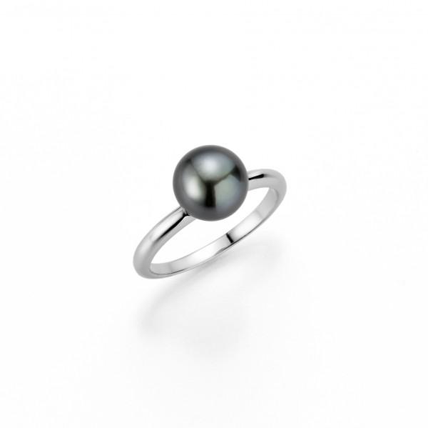 Perlenring Damenring Tahiti schwarz rund 8-9 mm Silber rhodiniert