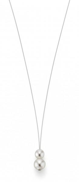 Perlenkette Süßwasser weiss 7-8 und 10-11 mm Edelstahl-Seil silber ca. 75 cm