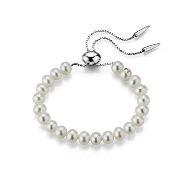 Perlenarmband Süßwasser weiss flexibel verstellbar Silber rhodiniert ca. 28 cm