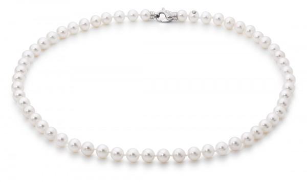 Perlenkette Süßwasser weiss rund 7-8 mm Silber rhodiniert 45 cm