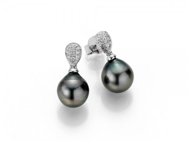 Perlenohrstecker Tahiti Tropfen 9-10 mm Zirkonia Silber rhodiniert